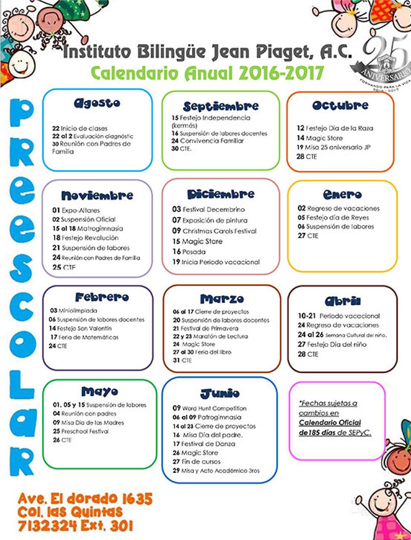 Calendario Para Kinder.Calendario Escolar Preescolar Jean Piaget
